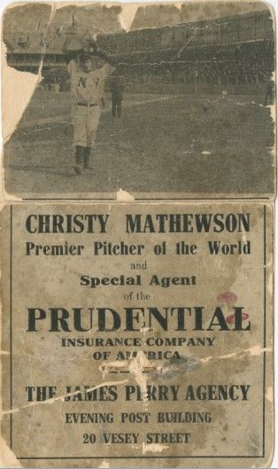 In 1908, the James Perry Agency gave away flip books of Christy Mathewson to publicize their hiring of star pitcher as an insurance agent. (National Baseball Hall of Fame and Museum)