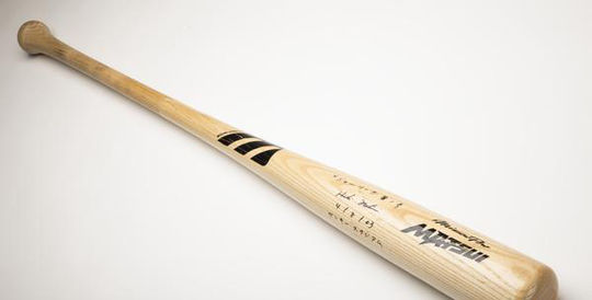 Hideki Matsui used this bat when he became the first Yankees player to hit a grand slam in his first game at Yankee Stadium on April 8, 2003. (Milo Stewart Jr./National Baseball Hall of Fame and Museum)