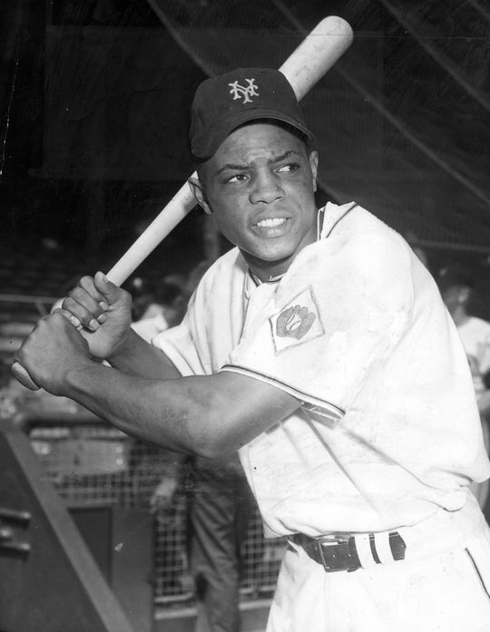 Willie Mays of the New York Giants posed batting. BL-2818-68WTln (National Baseball Hall of Fame Library)