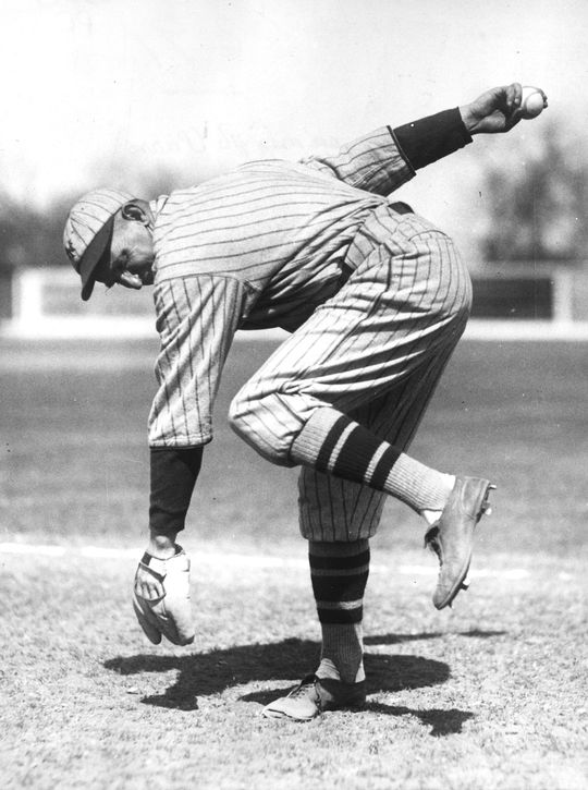 Carl Mays' submarine-style of pitching sometimes made it difficult for batters to see to see the ball.  Mays-Carl-2817.68WTj-PD  (National Baseball Hall of Fame and Museum)