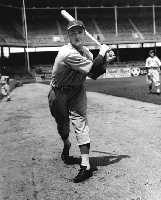 McCormick swinging a bat in his Reds uniform. BL-2743.68WT1c (National Baseball Hall of Fame Library)