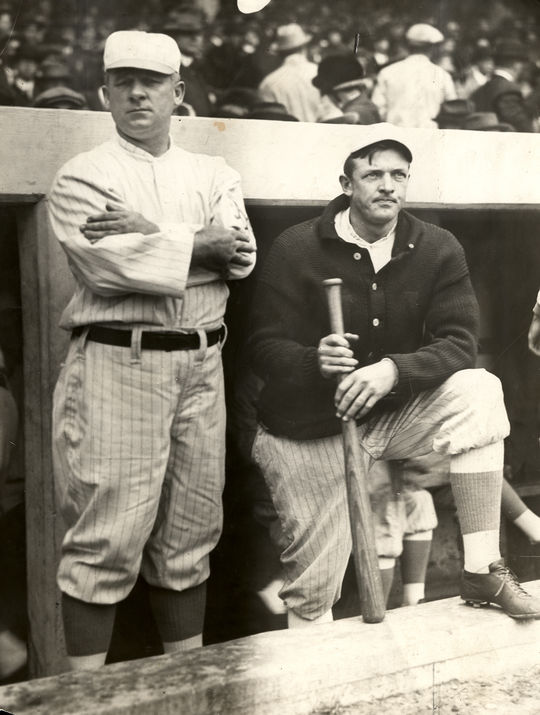 Though they had very different personalities, Christy Mathewson (right) and manager John McGraw developed a close bond while together with the New York Giants. (National Baseball Hall of Fame)