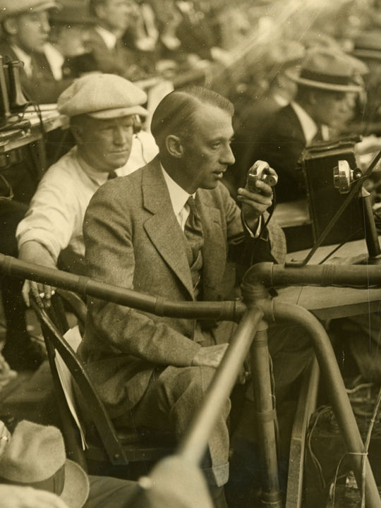 Graham McNamee photographed broadcasting the second game of the 1924 World Series on October 5, 1924. BL-102.62j (National Baseball Hall of Fame Library)