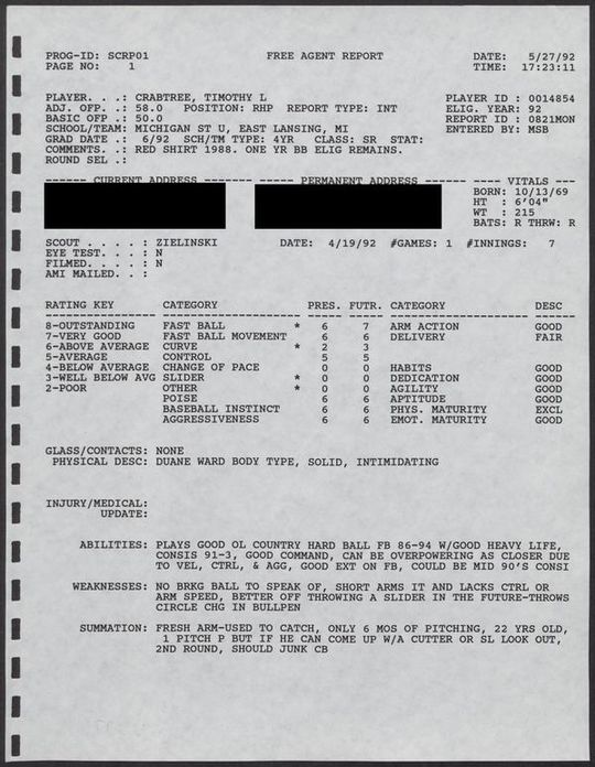 """Tim Crabtree's 1992 scouting report lauded him for his command and consistent speed. <a href=""""https://collection.baseballhall.org/PASTIME/montreal-expos-g-scouting-reports-1992#page/188/mode/1up/search/tim+crabtree"""">PASTIME</a> (National Baseball Hall of Fame and Museum)"""