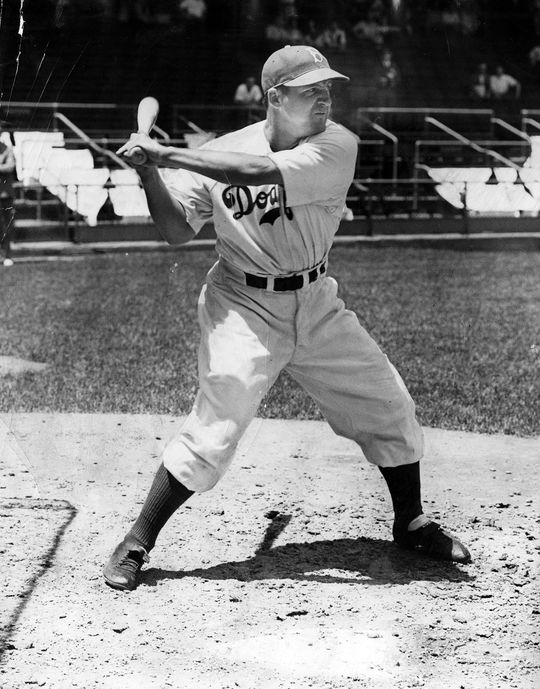 Joe Medwick (pictured above) and Pee Wee Reese were among the first players to sport protective headgear in 1941, with the advent of the Brooklyn Safety Cap. (National Baseball Hall of Fame)