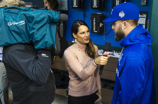 Jessica Mendoza interviews Royals pitcher Danny Duffy before Game 1 of the 2015 World Series. (Jean Fruth / National Baseball Hall of Fame)