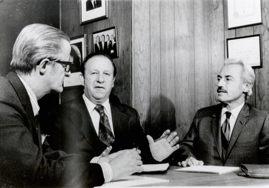 Marvin Miller (far right) pictured with John Gaherin (far left) meet with federal mediator J. Curtis Counts in an attempt to settle the players' strike, April 10, 1972. (National Baseball Hall of Fame and Museum)