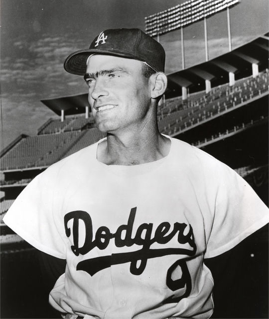 Wally Moon photographed in his Los Angeles Dodgers uniform. BL-2604.79 (National Baseball Hall of Fame Library)