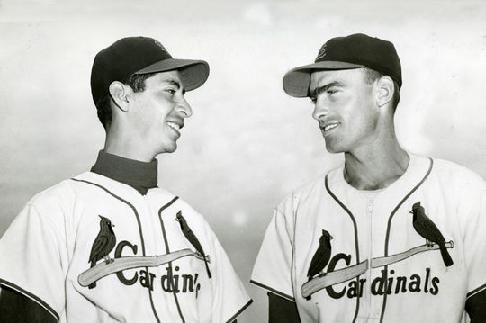 Wally Moon and left-handed pitcher Memo Luna of the Cardinals 1954. BL-2893.68WTn (National Baseball Hall of Fame Library)