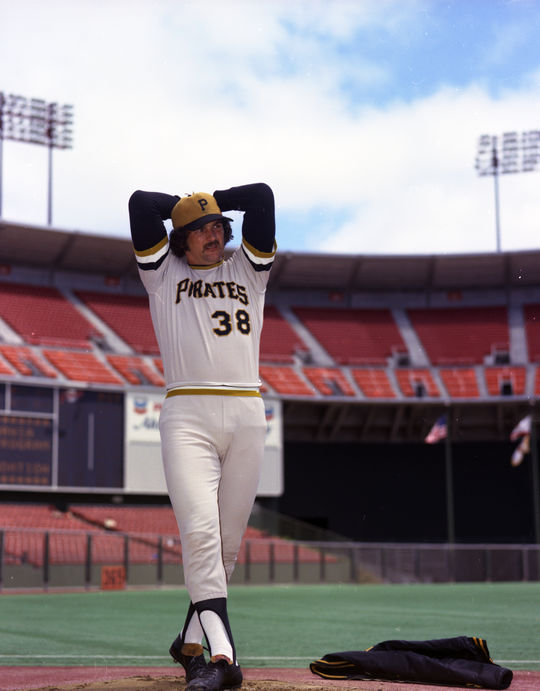 Posed action shot of Pittsburgh Pirates Bob Moose in 1973. PP73.751 (National Baseball Hall of Fame Library)