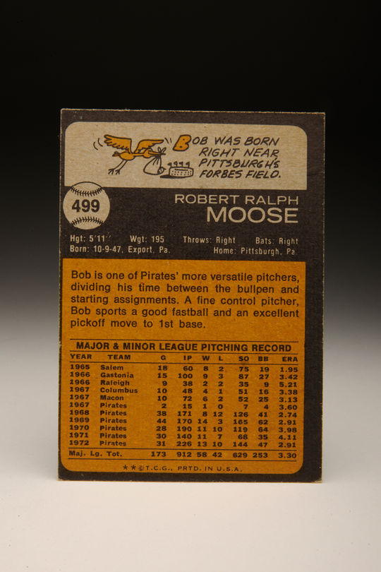 Reverse side of the 1973 Bob Moose Topps card. (Milo Stewart, Jr. / National Baseball Hall of Fame)