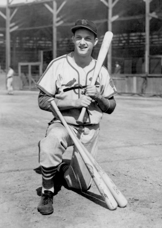 Stan Musial began his baseball career as a pitcher before an injury forced him to try the outfield. Musial named his son Dickie after the minor league manager who helped him make the transition to the outfield, Dickey Kerr. (National Baseball Hall of Fame and Museum)