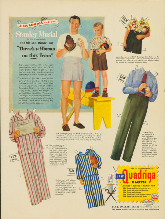 """This 1948 advertisement from the Ely & Walker Dry Goods Company featured Stan Musial and his son, Dickie. The ad was printed to allow readers to clip out figures of the Musials and """"dress"""" them in clothes made of Ely and Walker fabrics. (National Baseball Hall of Fame and Museum)"""