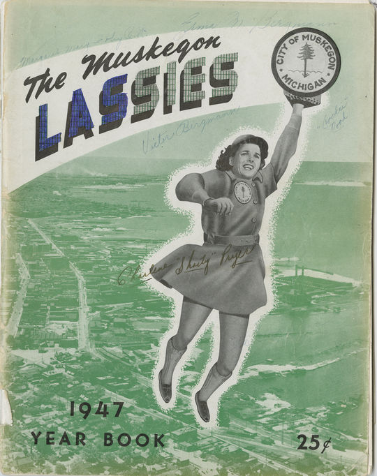 Erma Bergmann played two seasons for the Muskegon Lassies of the AAGPBL, including the 1947 campaign. Her signature can be seen at the top right corner of this copy of the Lassies' 1947 Yearbook, which is preserved at the Hall of Fame and in the Museum's digital collection at https://collection.baseballhall.org. (National Baseball Hall of Fame and Museum)