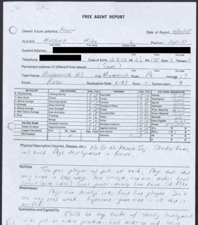 A scouting report on Mike Mussina from June 30, 1985. (National Baseball Hall of Fame and Museum)
