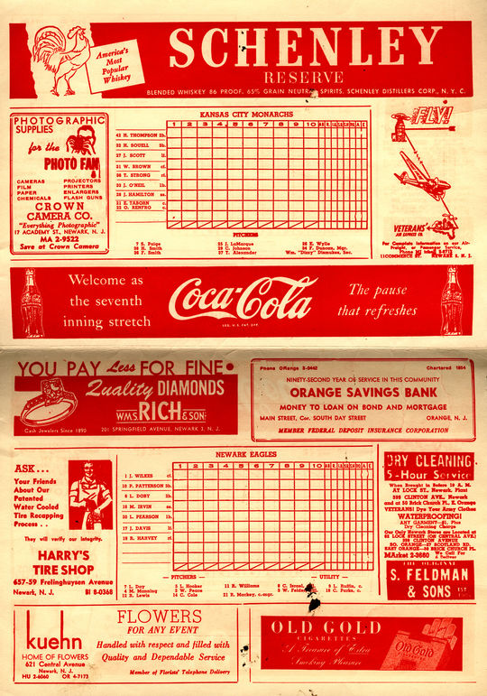 A program from the 1946 Negro Leagues World Series, during which Leon Day led the Newark Eagles to win the title over the Kansas City Monarchs. (National Baseball Hall of Fame and Museum)