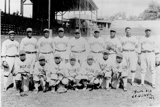 Cristóbal Torriente, pictured on the top row, far left, led the Chicago American Giants to their first three Negro National League pennants (1920-1922). (National Baseball Hall of Fame)