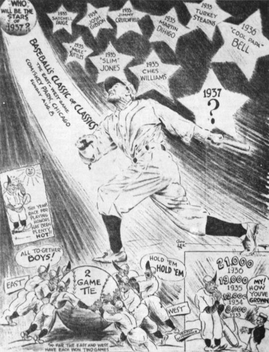 An advertisement for the 1937 East-West Game at Comiskey Park. BL-176.2008.7 (Larry Hogan / National Baseball Hall of Fame Library)