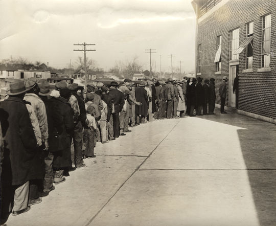 Fans waiting in line to enter an unidentified stadium for a Negro League game. BL-5295.92 (National Baseball Hall of Fame Library)