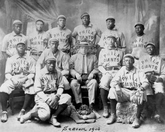 """Team photo of the 1906 Philadelphia Giants, who followed in the footsteps of the former Pythians co-founded by Octavius Catto. The Giants captured the """"World's Colored Champions"""" honor that year and extended offers to play either the White Sox or the Cubs, the major league pennant winners that season, but neither club responded. BL-5413-96 (National Baseball Hall of Fame Library)"""