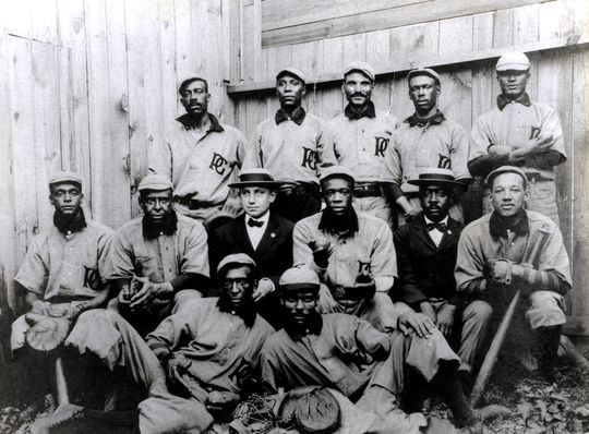 Sol White, pictured in the middle of the top row, while he was playing for the Philadelphia Giants. (National Baseball Hall of Fame)