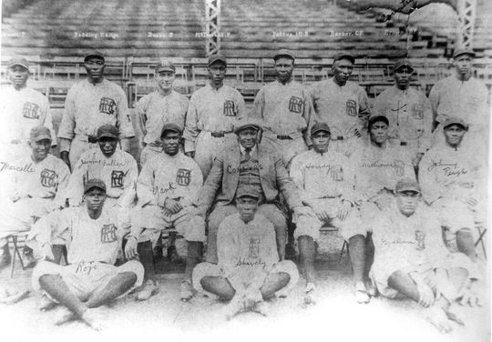The Atlantic City Bacharach Giants. Oliver Marcelle is in the middle row, far left. Marcelle played for the Bacharach Giants for parts of seven seasons. Negro-Leagues-Atlantic-City-Bacharach-Giants-1654.72_PD (National Baseball Hall of Fame and Museum)