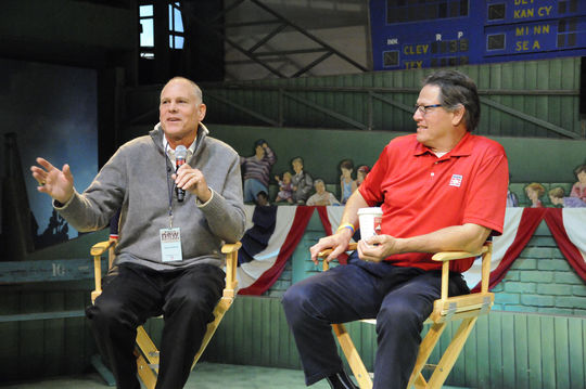 Former relief pitcher Rawly Eastwick (left) and Hall of Fame catcher Carlton Fisk discussed the 1975 World Series, the opening of <em>Whole New Ballgame</em> and more in a <em>Voices of the Game</em> event with Museum visitors immediately following the ribbon cutting in the Grandstand Theater. (Milo Stewart, Jr. / National Baseball Hall of Fame)