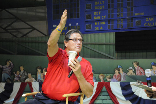 Hall of Famer Carlton Fisk speaks during a <em>Voices of the Game</em> discussion Saturday at the Museum's Grandstand Theater. (Milo Stewart, Jr. / National Baseball Hall of Fame)