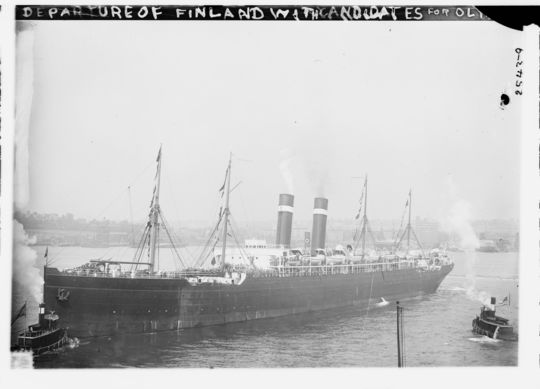 Departure of the ship carrying American athletes to the 1912 Olypmics. (Library of Congress)