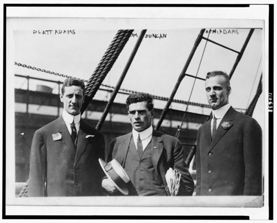 Three members of the 1912 Olympic track and field team. Brothers Platt and Ben Adams (the men on the left and right) both participated in the baseball event. (Library of Congress)