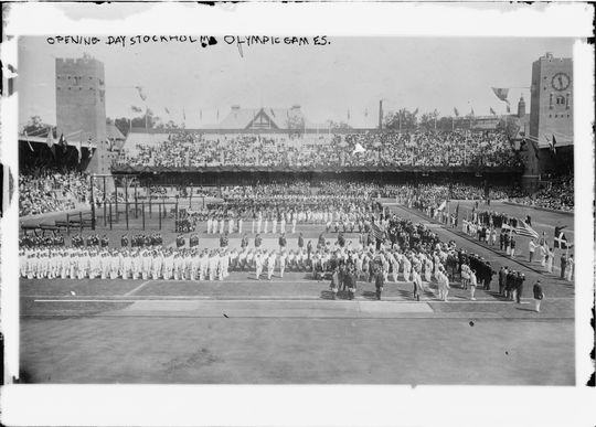 Opening Day ceremonies of the 1912 Olympic Games in Stockholm, Sweden. (Library of Congress)