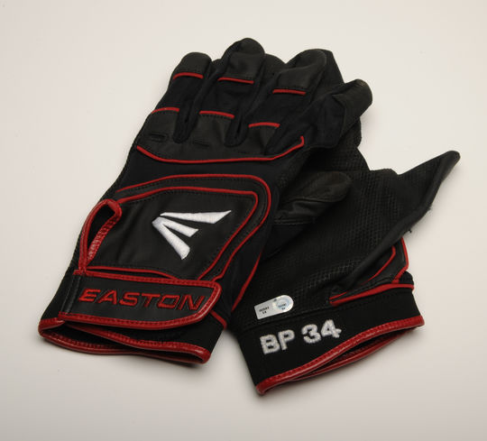 """Batting gloves worn by David """"Big Papi"""" Ortiz of the Boston Red Sox on July 4, 2012 when he recorded his 400th career home run. B-132.2012 (Milo Stewart, Jr. / National Baseball Hall of Fame)"""