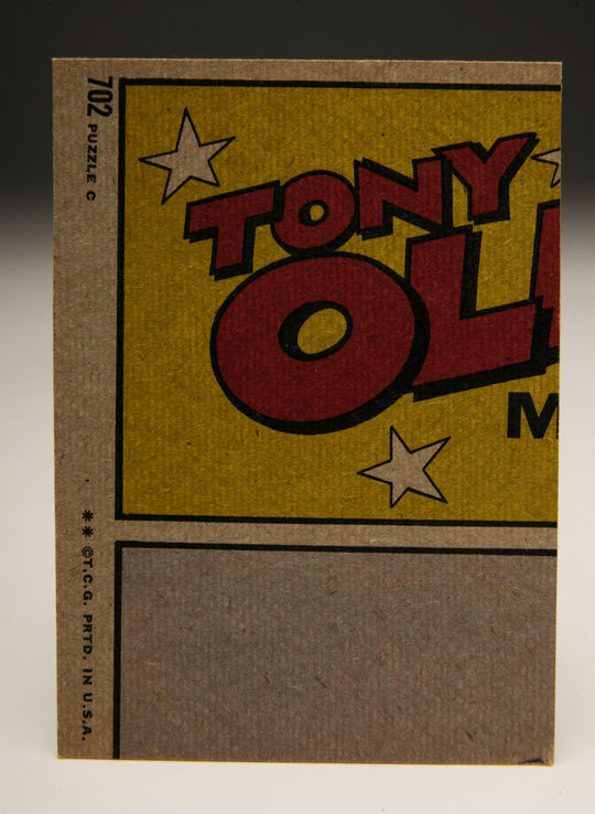 The backs of the 1972 Action cards featured pieces to a variety of puzzles. One of the 1972 puzzles depicted Tony Oliva, the starting right fielder for the Minnesota Twins and the 1971 American League batting champion. Oliva was also coming off an All-Star Game selection in 1971.  Unfortunately, knee injuries limited Oliva to only 10 games and 28 at-bats in 1972.