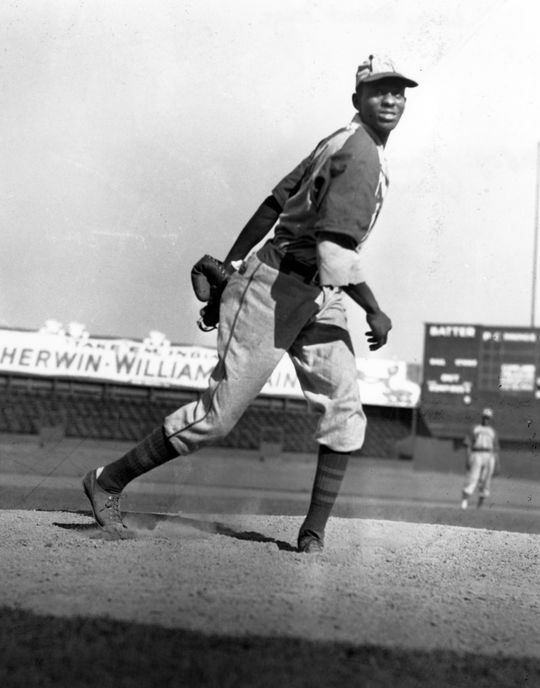 Kansas City Monarchs Satchel Paige on the mound, no date.  BL-1408.92