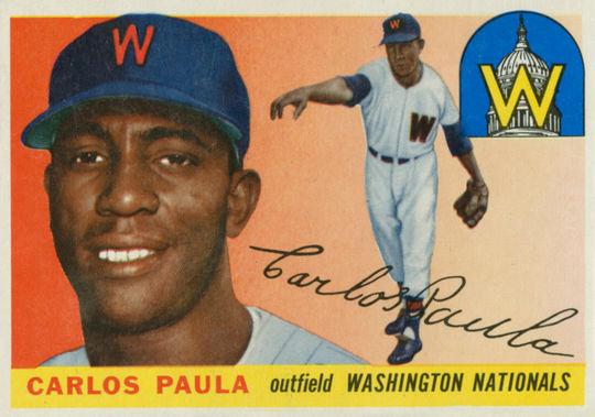 Carlos Paula's 1955 Topps baseball card. (National Baseball Hall of Fame)