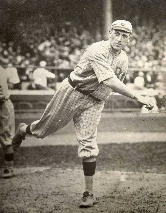 """Jeff Pfeffer was the ace of the Brooklyn Dodgers from 1914-1920. At 6'3"""", he was an intimidating presence on the mound, not least because of his reputation for throwing high and tight.  Pfeffer-Jeff-6196.72_Act_PD  (National Baseball Hall of Fame and Museum)"""