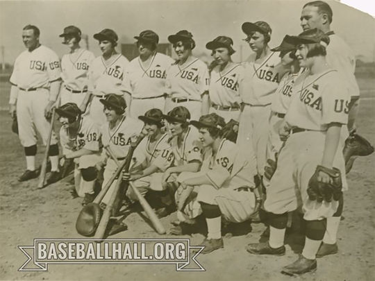 A team photograph of the Philadelphia Bobbies taken in 1926 during their trip to Japan. Leona Kearns is pictured on the far left. (National Baseball Hall of Fame and Museum)