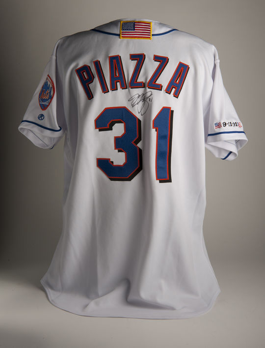 Mike Piazza wore this jersey when he hit a home run on Sept. 21, 2001, the first game played in New York after Sept. 11, 2001. (Milo Stewart Jr. / National Baseball Hall of Fame)