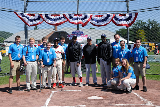 The 2015 Frank and Peggy Steele Internship Program interns at the National Baseball Hall of Fame and Museum poses for a group shot after PLAY Ball. (Milo Stewart, Jr. / National Baseball Hall of Fame Library)