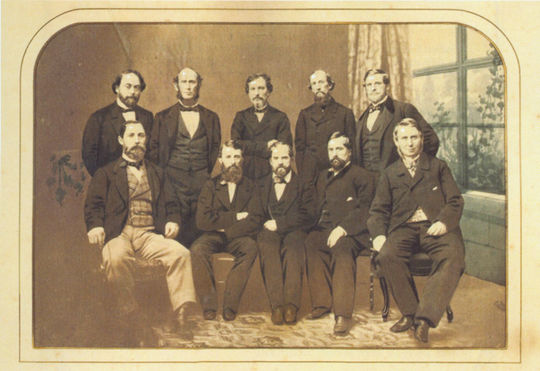 """Doc Adams, sitting in the front row, second in from the left, with the 1862 Knickerbocker Base Ball Club, taken from """"A Founding Father of Baseball."""" BL-586.2015 (National Baseball Hall of Fame Library)"""