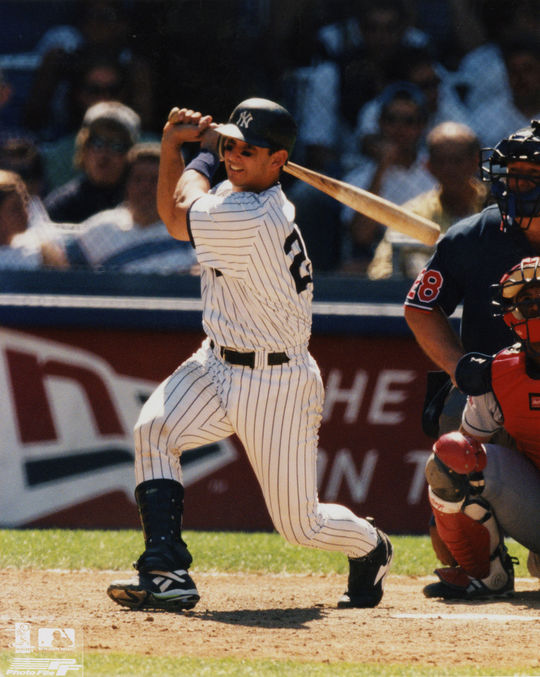 Jorge Posada of the New York Yankees batting in 1997. (National Baseball Hall of Fame)