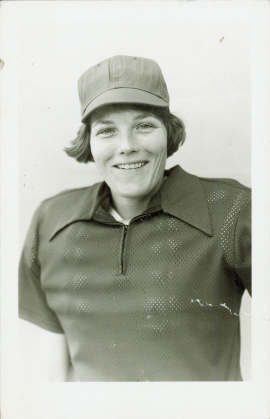 This postcard of Christine Wren, taken in 1977, was one of the images featured in the scrapbooks she donated to the National Baseball Hall of Fame. (National Baseball Hall of Fame)