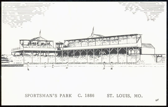 A postcard of von der Ahe's Sportman's Park circa 1886. BL-4704.85 (National Baseball Hall of Fame Library)