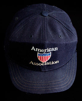 American Association umpire cap worn by Pam Postema during the 1988 season. B-265.88 (Milo Stewart Jr. / National Baseball Hall of Fame)