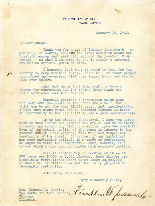 "The ""Green Light Letter"" written by Roosevelt. B-49.56 (National Baseball Hall of Fame Library)"