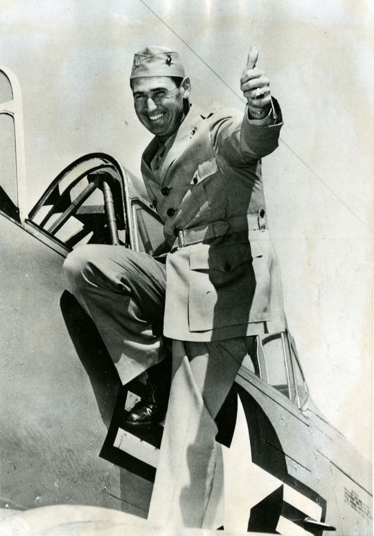 """Ted Williams climbs aboard an F9F Panther jet at Willow Grove Naval Air Base, in Willow Grove, Pa. <a href=""""http://collection.baseballhall.org/islandora/object/islandora%3A501838"""">PASTIME</a> (National Baseball Hall of Fame)"""