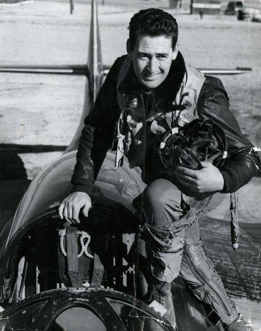"""When Ted Williams was called to serve in the Korean War, he hadn't flown a military plane in seven years. Accustomed to flying F4U Corsairs from World War II, he quickly learned how to fly  F9F panther jets. <a href=""""http://collection.baseballhall.org/islandora/object/islandora%3A501774"""">PASTIME</a> (National Baseball Hall of Fame)"""