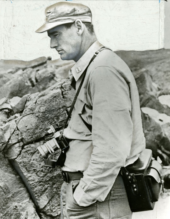 """Ted Williams captured much of his time in Korea with his camera, but lost nearly all of his photographs when Hurricane Donna destroyed his home in the Florida Keys in 1960. <a href=""""http://collection.baseballhall.org/islandora/object/islandora%3A501766"""">PASTIME</a> (National Baseball Hall of Fame)"""