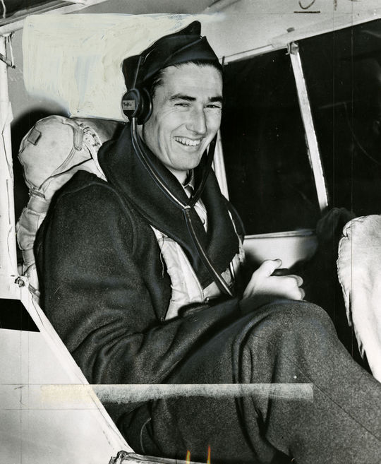 """An image of Ted Williams during his training to be a jet pilot, in Roosevelt Roads Naval Base, Puerto Rico. <a href=""""http://collection.baseballhall.org/islandora/object/islandora%3A501758"""">PASTIME</a> (National Baseball Hall of Fame)"""