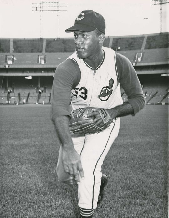 Luis Tiant of the Cleveland Indians in a posed pitching photograph. (National Baseball Hall of Fame and Museum)